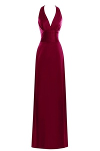 Dora Bridal Women Stain V-neck A-Line Formal Evening Gowns Banquet Dresses US22W Burgundy