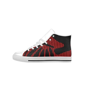 H-MOE Art Houndstooth Women's High Top Lace-up Action Leather Breathable Sneakers,White