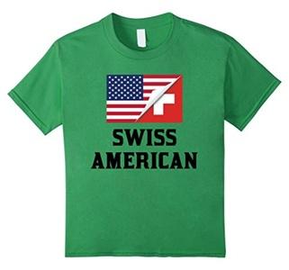 Kids Flags of Switzerland And USA Swiss American T-Shirt 8 Grass