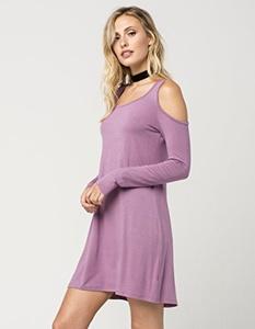 EYESHADOW Cold Shoulder Dress, Mauve, X-Large