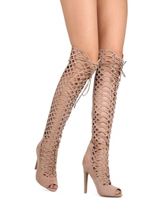 Qupid FE68 Women Faux Suede Knee High Hollow Out Lace Up Stiletto Boot - Taupe (Size: 6.5)