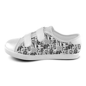 H-OME Art Slipknot Kid's Velcro Low-Top Canvas Shoes Boy's Girl's Breathable Sneakers,White