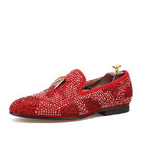 HI&HANN Men's Suede Men Shoe With Gold Tassel And Exquisite Crystal Shoes Slip-on Loafer Round Toes Smoking Slipper-11.5-Red