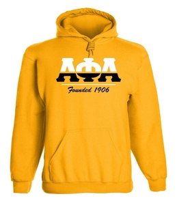 Alpha Phi Alpha Graphic Print Hoodie by Fashion Greek Gold Small