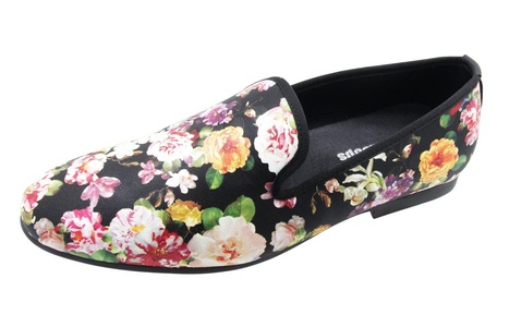 Santimon Men Loafers Smoking Slipper Embroidery Flower Velvet Casual Slip on Shoes Flower3 5 D(M) US