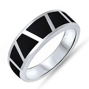 Black Simulated Onyx Stone Eternity Band Sterling Silver Ring Size 5