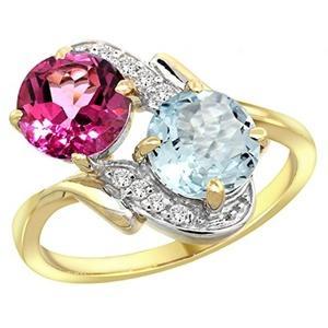 14k Yellow Gold Diamond Natural Pink Topaz & Aquamarine Mother's Ring Round 7mm, size 7.5