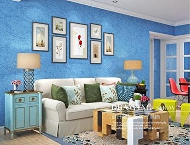 QIHANG Silk Modern Brief Plain Solid Color Non-woven Wallpaper Roll TV Background Ocean Blue Color 0.53m*10m=5.3m2 by QIHANG