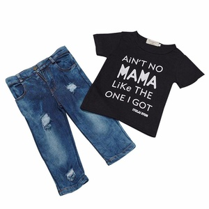 BANGELY Toddler Baby Boy Summer Clothes Short Sleeve T-shirt Tops Denim Pants Outfits Set