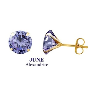 10k Yellow Gold 9mm Round June Alexandarite Birthstone Stud Earrings