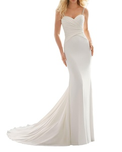 Meledy Women's Beaded Spaghetti Straps Ruffle Long Mermaid Bridal Wedding Gown