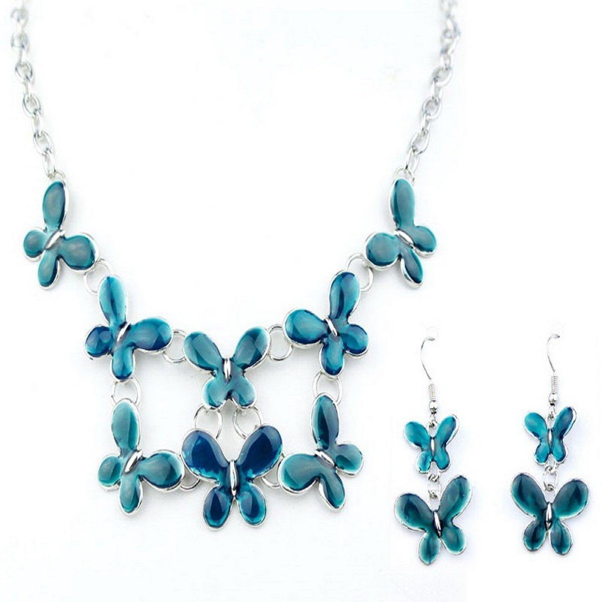 ARICO Multi Layer Necklace Earrings Butterfly Jewelry Sets Enamel Jewelry Set Silver Plated NE141