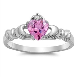 Simulated Pink Cubic Zirconia Silver Ring Irish Claddagh Engagement Wedding Band Size 9