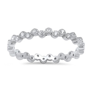 3MM Full Eternity Stackable Wedding Engagement Band Ring Round Cubic Zirconia 925 Sterling Silver