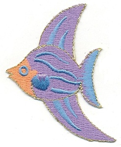 1Pcs Applique Patches Logo Patterns Animal, Cute Purple Tropical Marine FISH Embroidery Applique pPatch Iron-on Sewing Lace Embroidered Craft Supply Fabric Decorative, Size 2.25